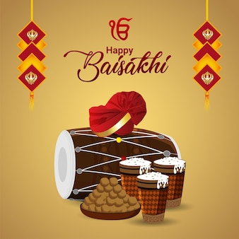 Illustration vectorielle réaliste de carte de voeux de célébration vaisakhi heureux avec dhol créatif