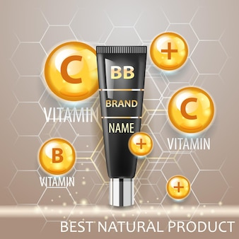 Illustration vectorielle réaliste cosmétique. tube de crème et complexe de vitamines.