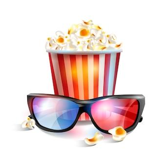 Illustration vectorielle réaliste de lunettes 3d avec pop-corn.