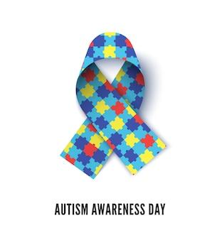 Illustration vectorielle réaliste de ruban de sensibilisation à l'autisme. symbole asd, ruban 3d avec texture de puzzle coloré. élément de design décoratif de bannière de mois de tolérance de trouble de développement d'enfants
