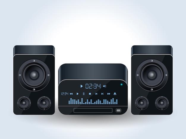 Illustration vectorielle réaliste de système audio maison