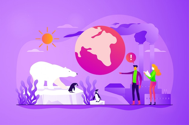 Illustration vectorielle de réchauffement climatique concept.
