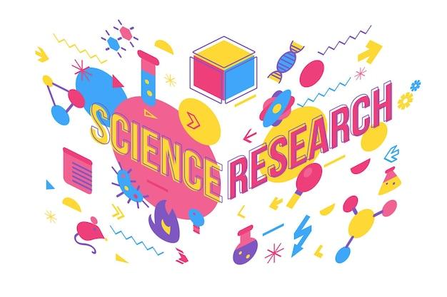 Illustration vectorielle de recherche médicale. conception de bannière de concept de mot d'étude de chimie avec la typographie