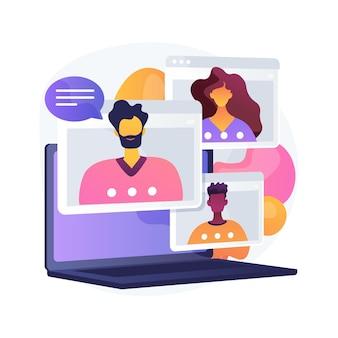 Illustration vectorielle de rencontre en ligne concept abstrait. conférence téléphonique, rejoindre un groupe meetup, service en ligne d'appel vidéo, communication à distance, réunion informelle, métaphore abstraite du réseautage des membres.