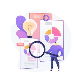 Illustration vectorielle de renseignement concurrentiel concept abstrait. intelligence d'affaires, analyse de l'information, stratégie d'étude de marché, logiciel d'analyse, métaphore abstraite de l'environnement concurrentiel.