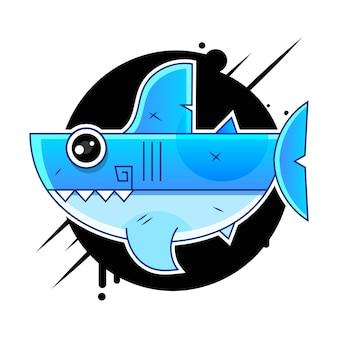 Illustration vectorielle de requin blanc à pleines dents dessin animé de vecteur signe pour l'impression, dans les bandes dessinées, la mode, le pop art