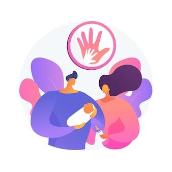 Illustration vectorielle de responsabilité parentale concept abstrait. responsabilités en matière de droits, rôles sociaux, préparer le dîner, faire ses devoirs, garde d'enfants, famille heureuse, jouer ensemble la métaphore abstraite.