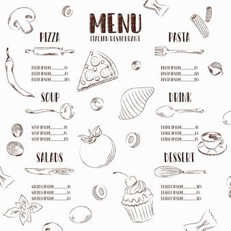 Illustration vectorielle de restaurant menu avec des éléments de la cuisine italienne