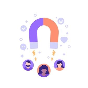 Illustration vectorielle de rétention client avec aimant et personnes