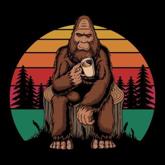 Illustration vectorielle rétro de café relaxant bigfoot