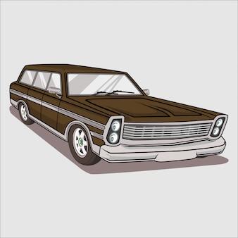 Illustration vectorielle rétro, classique, voiture ancienne, chevrolet 1953
