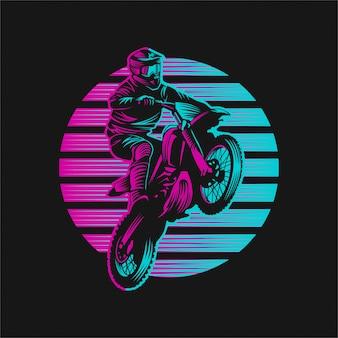 Illustration vectorielle rétro motocross coucher de soleil