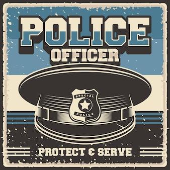 Illustration vectorielle rétro vintage d'agent de police digne d'une affiche ou d'une signalisation en bois
