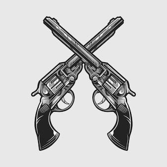 Illustration vectorielle de revolver pistolet pistolet isolé