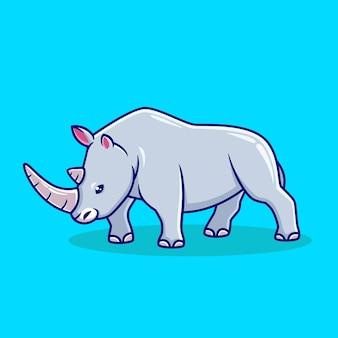 Illustration vectorielle de rhinocéros dessinés à la main icône cartoon