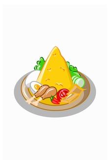 Illustration vectorielle de riz en forme de cône