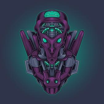 Illustration vectorielle robotique tête extraterrestre