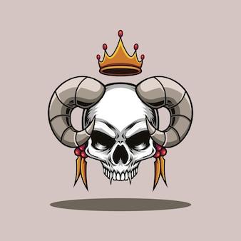 Illustration vectorielle de roi crâne corne