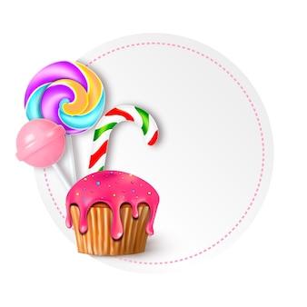 Illustration vectorielle ronde avec des bonbons, des bonbons et des sucettes