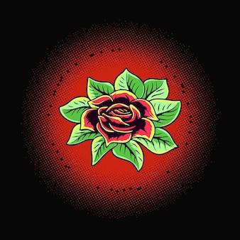 Illustration vectorielle de roses fleur tatto