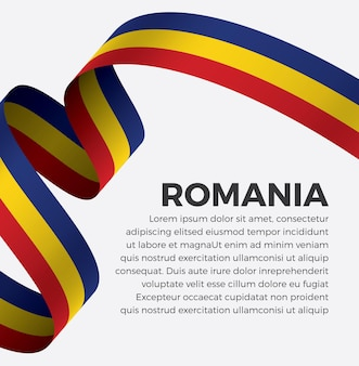 Illustration vectorielle de roumanie ruban drapeau sur fond blanc vecteur premium