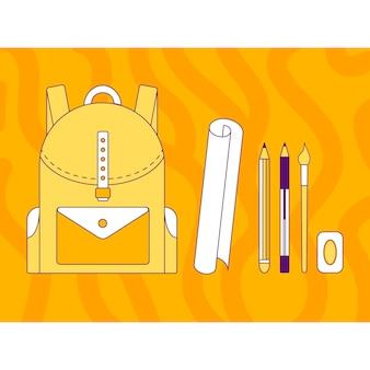 Illustration vectorielle, sac à dos, stylo, crayon, pinceau, gomme