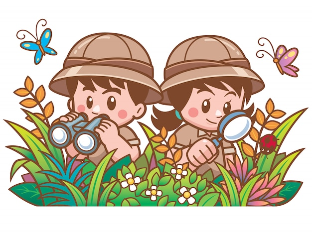 Illustration vectorielle de safari boy et fille d'aventure