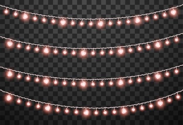 Illustration vectorielle de saint valentin lumières isolé