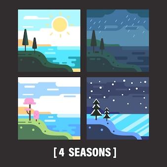 Illustration vectorielle de saisons. quatre saisons