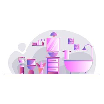 Illustration vectorielle de salle de bains moderne design d'intérieur