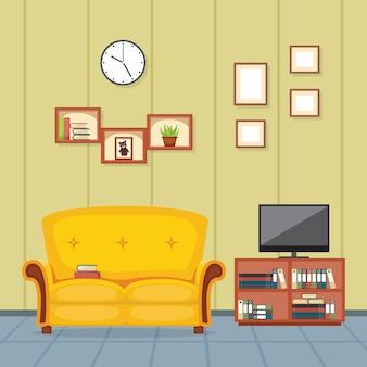 Illustration vectorielle de salon moderne famille maison meubles d'intérieur