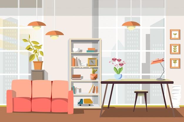 Illustration vectorielle salon plat intérieur.