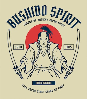 Illustration vectorielle de samouraï avec 2 épées à la main, prêt à se battre