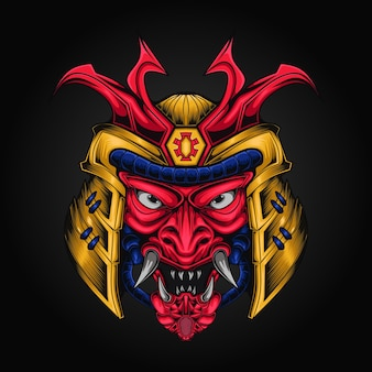 Illustration vectorielle de samouraï armure tête casque