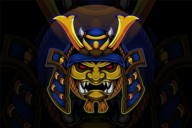 Illustration vectorielle de samouraï casque bleu