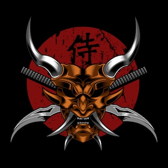 Illustration vectorielle de samurai evil diable
