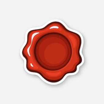 Illustration vectorielle sceau de cire rouge timbre de sécurité courrier autocollant en style cartoon avec contour
