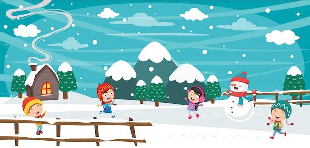Illustration vectorielle de la scène d'hiver