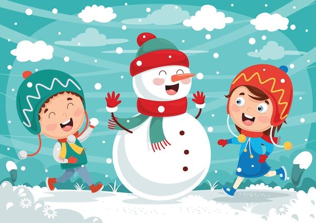Illustration vectorielle de scène d'hiver