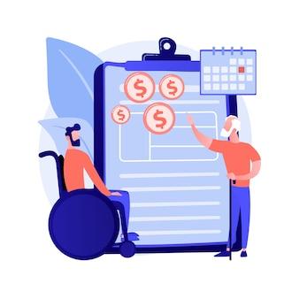 Illustration vectorielle de sécurité sociale avantage concept abstrait. protection de la sécurité sociale, formulaire de demande, calculateur de prestations, assurance retraite, revenu d'invalidité, métaphore abstraite d'agent.