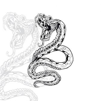 Illustration vectorielle serpent furieux