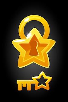 Illustration vectorielle d'une serrure dorée et d'une clé. la serrure est de conception simple en forme d'étoile.