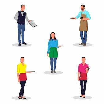 Illustration vectorielle de serveur coloré et serveuse