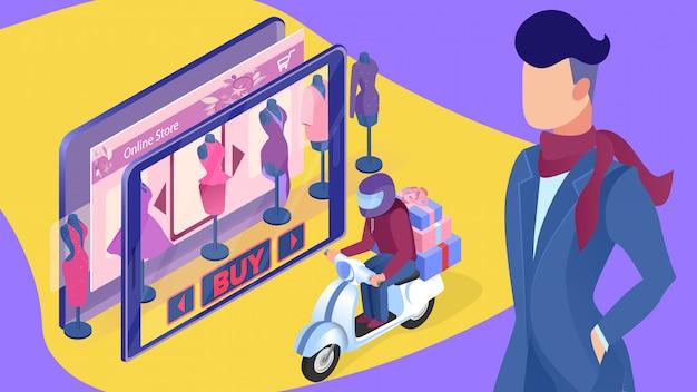 Illustration vectorielle de service de livraison de vêtements féminins