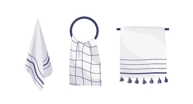 Illustration vectorielle de serviettes suspendues collection. ensemble d'accessoires de cuisine et de salle de bain. articles textiles sur différents crochets, attribut d'hygiène. jack-serviettes isolé sur fond blanc.