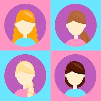 Illustration vectorielle set 4 avatar pour les utilisateurs, femme, femme