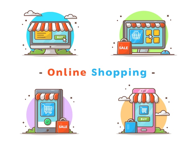 Illustration vectorielle de shopping en ligne
