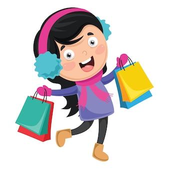 Illustration Vectorielle De Shopping Vecteur Premium