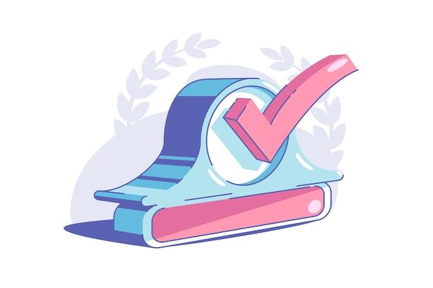 Illustration vectorielle de signe de contrôle accompli. symbole de la tâche terminée ou du style plat de l'objectif atteint. pour faire la liste et le concept de planification