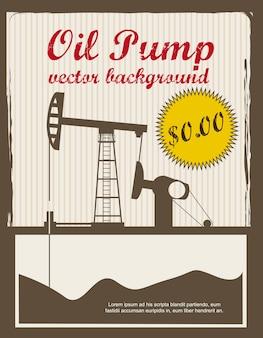 Illustration vectorielle de silhouette huile pompe annonce vintage